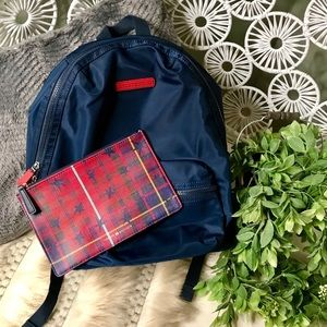 Tommy Hilfiger backpack and plaid pouch bundle